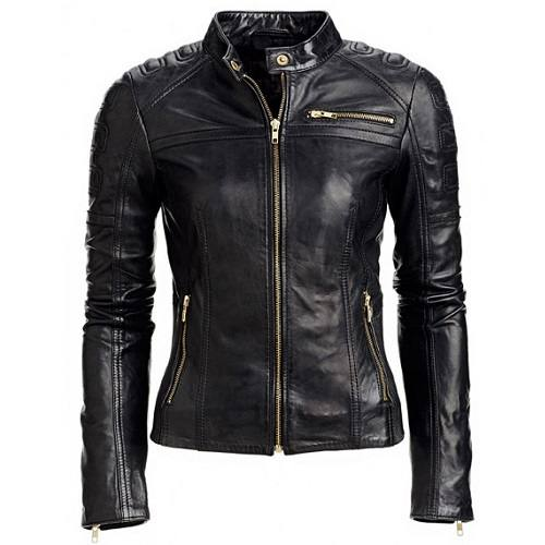 Women/'s Motorcycle Racer Black Leather Jacket With Zippered cuffs Size XS-3XL